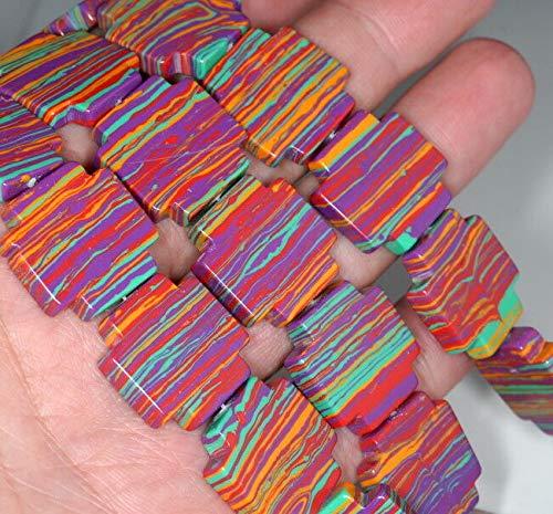 (20MM Rainbow Matrix Turquoise Gemstone Flat Square Loose Beads 15
