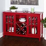 Simple Living Portland Red Wood/Glass Wine Buffet