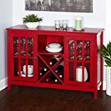 Simple Living Portland Red Wood/Glass Wine Buffet For Sale