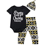Baby Girls' Outfit Set Pretty Eye Chubby Thighs Short Sleeve Romper (Black02, 3-6 Months)