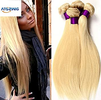 Amazon atozwig8a grade 613 blonde virgin hair straight 3 atozwig8a grade 613 blonde virgin hair straight 3 bundles blonde brazilian hair platinum blonde pmusecretfo Gallery