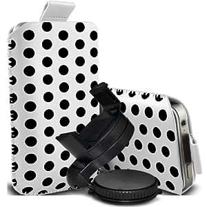 Nokia Lumia 820 Protección Premium Polka PU ficha de extracción Slip Cord En cubierta de bolsa Pocket Skin rápida con el sostenedor 360 giratorio del parabrisas del coche Cuna Blanco y Negro por Spyrox