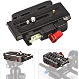 TARION Connect Adapter Mount with Quick Release Plate for Manfrotto 577 Tripod Head and DSLR Video Camera Stabilizer Slider
