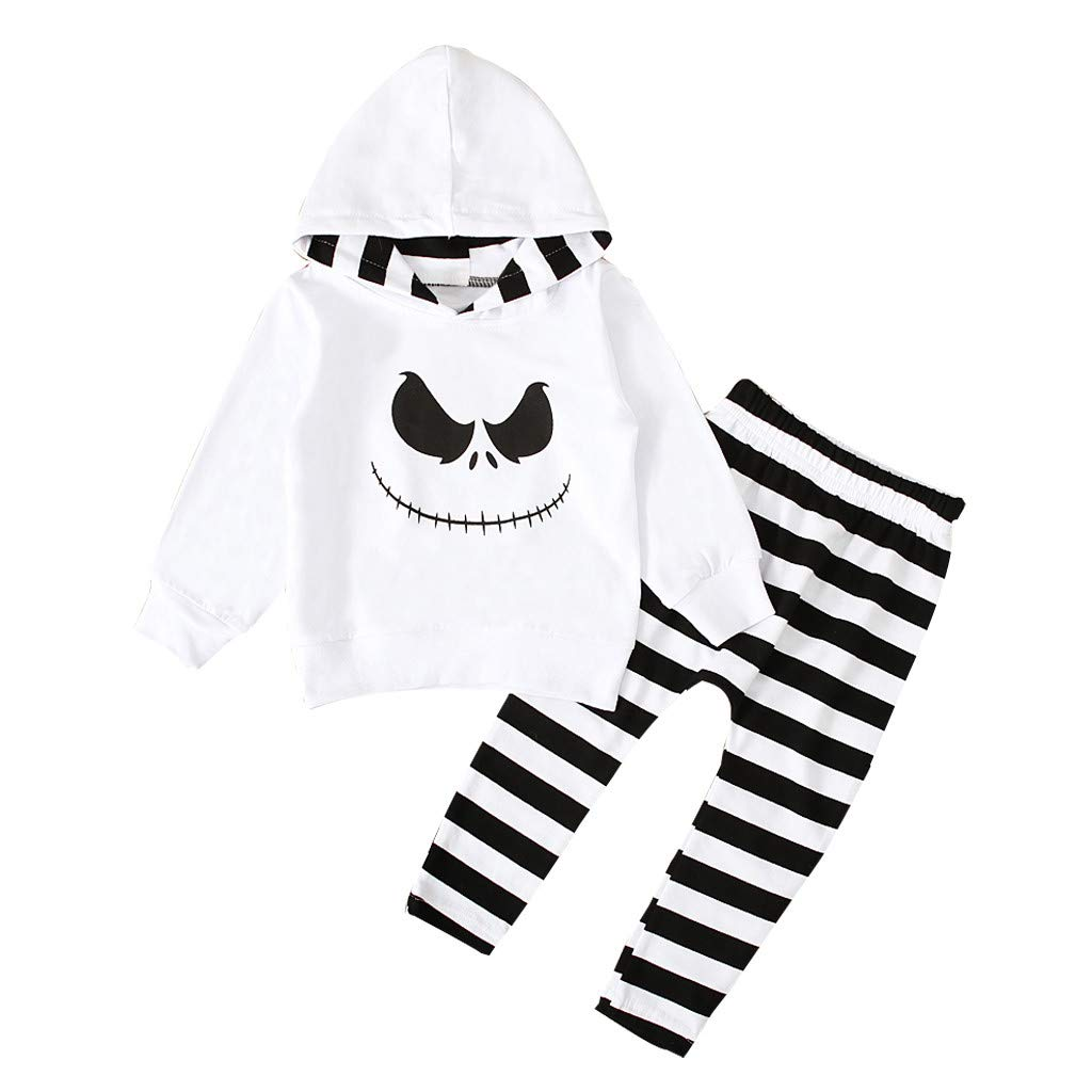 Halloween Toddler Baby Boys Girls Nightmare Hoodie Shirt and Stripe Pants Costume Outfits Set for 1-4 Years Old