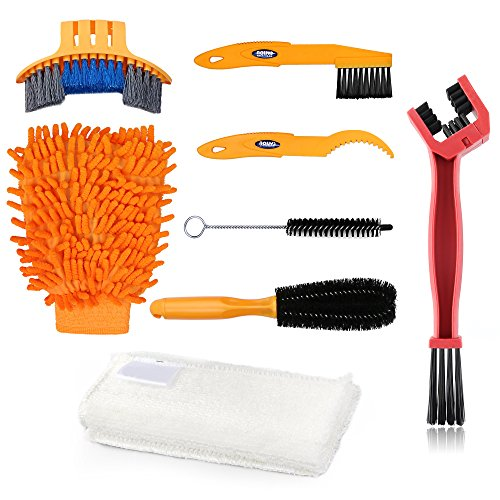 Oumers Bike Clean Brush Kit, 8pcs Motorcycle Bicycle Cleaning Tools Make Chain/Tire/Sprocket/Crank Bike Corner Stain Dirt Clean Shine. Durable/Practical (Dirt Bicycle)