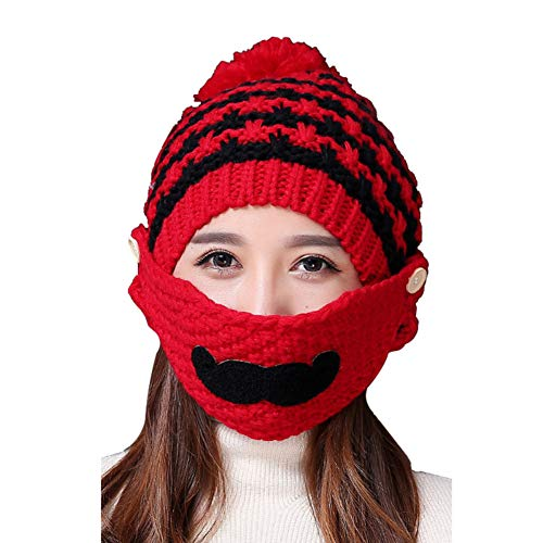 SuBoZhuLiuJ Lovely Beard Women's Outdoor Winter Warm Knitted Beanie Hat Mouth Face Mouth Mask Scarf Set - Red