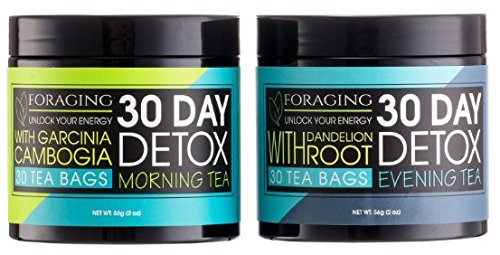 Foraging Detox Tea - 30 Day and Night Teatox - (60 Tea Bags) With Garcinia Cambogia & Dandelion Root For Weight Loss And Relaxing ()