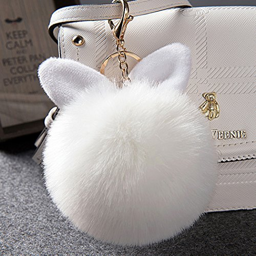 12 cm Rabbit Ears Fur Ball Bag Charms with Golden Keyring Pom Pom, Fluffy Fur Ball Keychain for Car Keyring, Charm Gift (White)