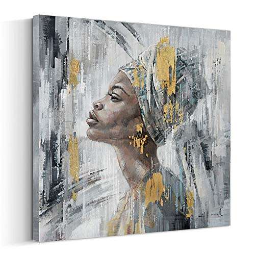Crescent Art Framed African American Black Art Black Women Wall Art Painting on Canvas Pirnt Wall Picture for Home Accent Living Room Wall Decor (24 x 24 inch, H)
