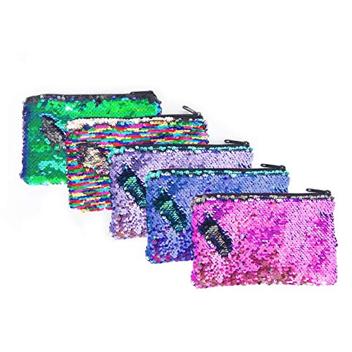 (5 Pieces Glitter Reversible Sequin Pencil Pouch Small Makeup Organizer Bag Purse,Assorted Colors (Reversible Sequin))