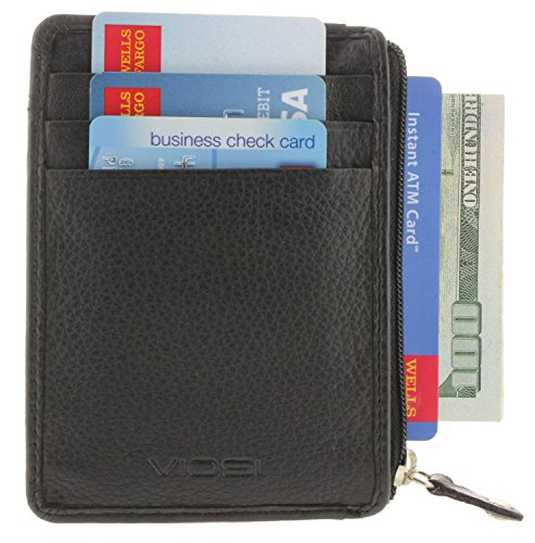 Mens Minimalist Wallets - Slim Front Pocket RFID Blocking Wallet - 3-Pockets Card Holder with ID Window Sleeve and Zipper Compartment - with Identity Theft Protection - (Black)