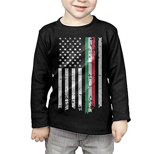 DLOAHJZH-Q Italian American Thin Line Flag Printed Children Long-Sleeved Tee Shirts
