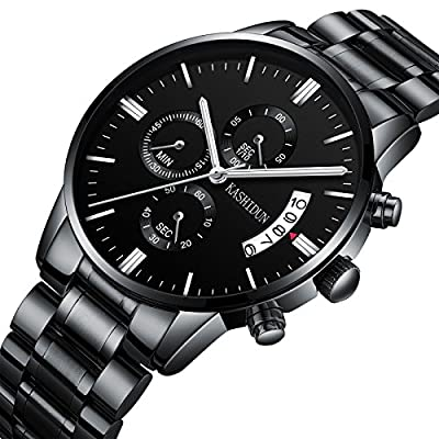 KASHIDUN Men's Watches Sports Military Luxury Fashion Casual Quartz Wristwatches Waterproof Chronograph Stainless Steel Band Black Color