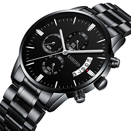 KASHIDUN Mens Watches Sports Military Luxury Fashion Casual Quartz Wristwatches Waterproof Chronograph Stainless Steel Band Black Color