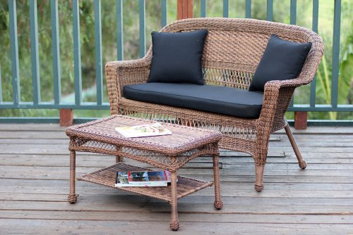 Jeco W00205-LCS017 Wicker Patio Love Seat and Coffee Table Set with Black Cushion, Honey