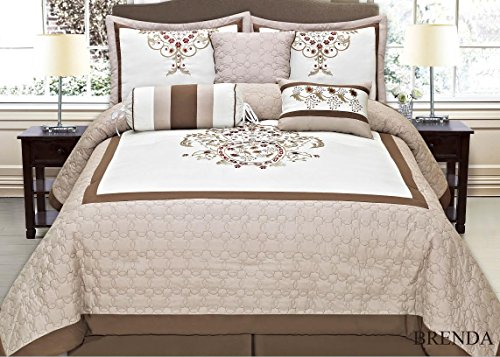 Fancy Collection 7-pc Brenda Burgundy Embroidery Bedding Taupe Beige Comforter Set (King)
