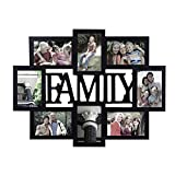 "Adeco Decorative Black Wood""Family"" Wall Hanging Collage Picture Photo Frame, 8 Openings, 4x6"""