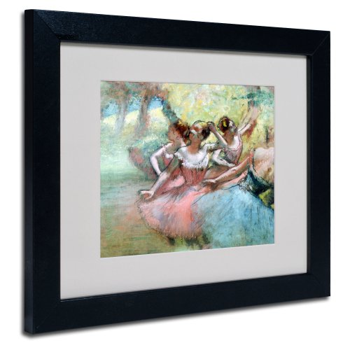 - Four Ballerinas on The Stage Artwork by Edgar Degas in Black Frame, 11 by 14-Inch