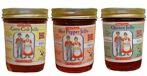 - Ole & Lena Hard Times Jams & Jellies (3 Pack) - 9.5 oz Jars-Corn Cob, Hot Pepper & Quince