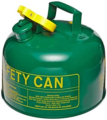 """Eagle UI-10-SG Type I Metal Safety Can, Combustibles, 9"""" Width x 8"""" Depth, 1 Gallon Capacity, Green"""