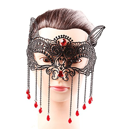 Women's Halloween Party Lace Mask Nightclub Fox Masquerade Red Beads Pendants -