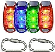 Seakcoik 4-Pack LED Safety Light Strobe Lights for Running Walking Bicycle Dog Pet Runner, Best Flashing Warni