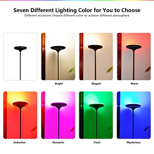 FaithSail Color Changing LED Torchiere Floor Lamp, Remote Control 24W (200W Equivalent), Dimmable and Adjustable, Reading Uplight Standing Floor Light for Bedrooms, Living Room and Office by FAITHSAIL (Image #2)