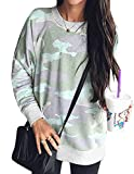 Ray-JrMALL Women Camouflage Print Sweatshirt Long Sleeve Tops Crew Neck Shirt Loose Fit Casual Pullover Camo Jumper Pale Green M