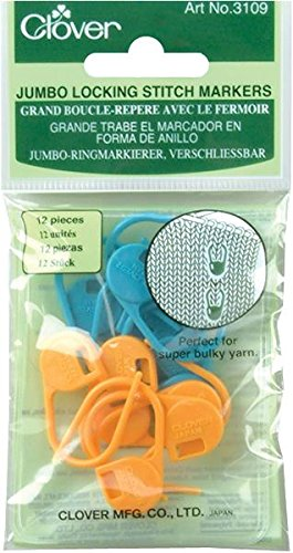 blue Clover 3109 Jumbo Locking Stitch Markers orange