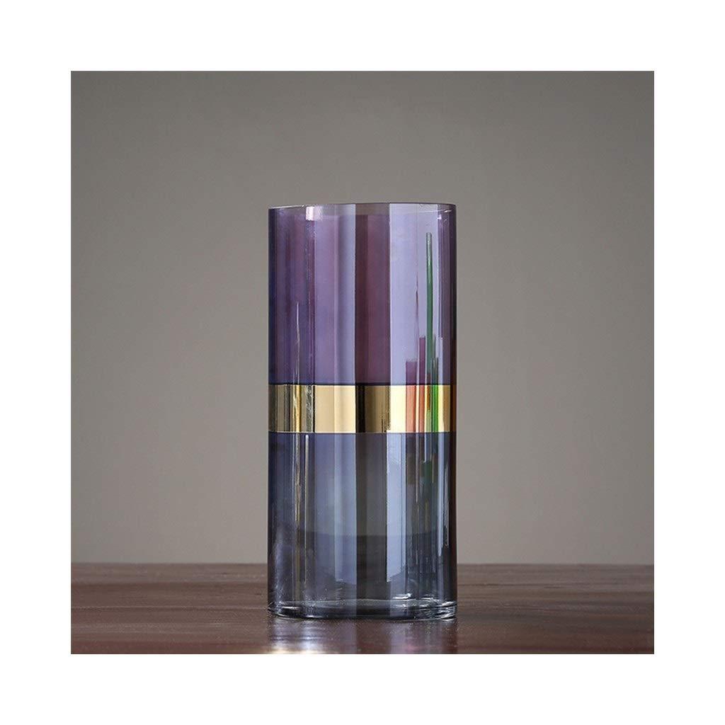 ガラス花瓶カラーフラワーアレンジメントリビングルームデコレーションテーブルホームデコレーション(パープル) (Size : 14cm*30cm) B07SRC6N8X  14cm*30cm
