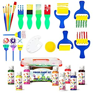 Early Learning Kids Paint Set Washable Finger Paint with Assorted Painting Brushes Sponges Portable Case for Kids…