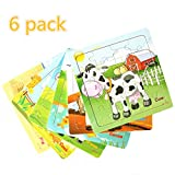 #9: Meshion Wooden Jigsaw Puzzles With Storage Tray Farm Animals Set Kids Toys Game For Toddler,Girls,Boys,Pack Of 6(Horse,Pig,Sheep,Cow,Cork,Goose)