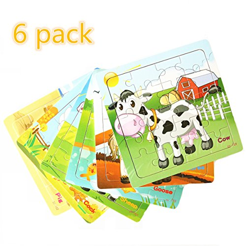 Farm Animal Jigsaw - Meshion Wooden Jigsaw Puzzles With Storage Tray Farm Animals Set Kids Toys Game For Toddler,Girls,Boys,Pack Of 6(Horse,Pig,Sheep,Cow,Cork,Goose)