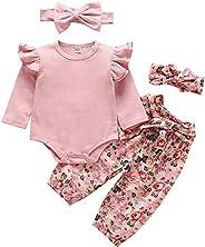 NINGMENG Toddler Baby Girls Clothing Outfits Long Sleeve Ruffle Shirts+Floral Pants+Headband Clothes Set