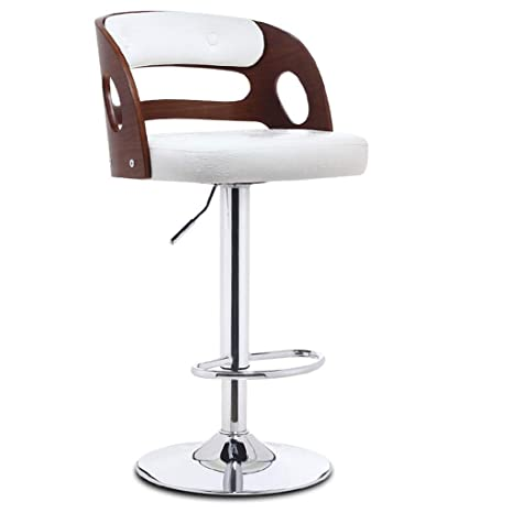 Magnificent Amazon Com Bar Stool Wood Adjustable Height Leather Modern Evergreenethics Interior Chair Design Evergreenethicsorg