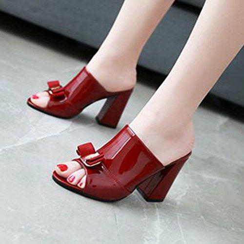 Plate Sandales Rouge Forme Toe Glisser Talon Vin Bowknot Wedges Glitter Peep Talon pour Robe Mode Femmes Sandales Bloc vxTSw