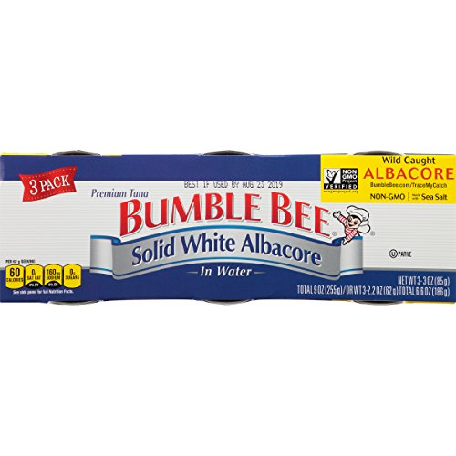 BUMBLE BEE Solid White Albacore Tuna In Water, Canned Tuna Fish, High Protein Food, Wild Caught, Gluten Free, 3 oz Cans, 3Count (Pack of 8)