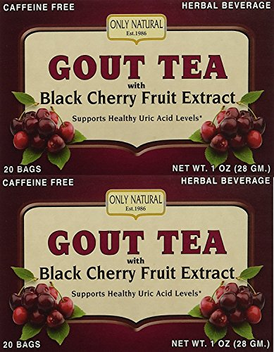 Only Natural Gout Tea Black Cherry Fruit Extract Bags, 20 Count (One Color, Pack of 2)