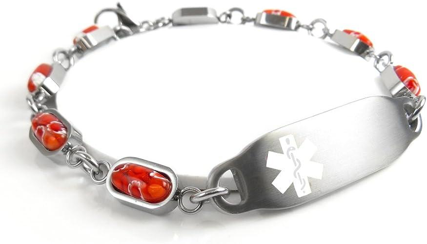 My Identity Doctor Black Red Millefiori Glass Pre-Engraved /& Customized Diabetes Type II ID Bracelet