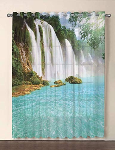 iPrint One Panel Extra Wide Sheer Voile Patio Door Curtain,Waterfall,Ban Gioc Detian Cascade in The Forest Tropical Waterscape Clear Pool,Turquoise Green White,for Sliding Doors(108