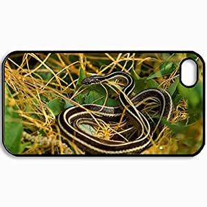 Customized Cellphone Case Back Cover For iPhone 4 4S, Protective Hardshell Case Personalized Eastern Ribbon Snake Black