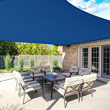MOVTOTOP Sun Shade Sails 10×13 FT Rectangle, 185 GSM Thicker Outdoor Shade Block 95 UV Keep Cool for Deck, Patio, Pergola, Backyard Outdoor Blue