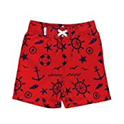RuggedButts Infant/Toddler Boys Red w/Navy Nautical Print Swim Trunks w/Adjustable Waist - Red/Navy - 3-6m