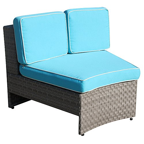 PATIOROMA Outdoor Single Chair, Patio Furniture All Weather PE Wicker Sofa Chair, Patio Chairs with Blue Removable cushions,Grey Wicker -
