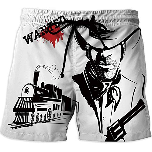 Men's Quick-Dry Lightweight Pace Running Shorts,WesternMen's Board Short SwimwearCowboy Silhouette Portrait Wanted Poster Locomotive Bandit Bloody Robbery Decorative ()