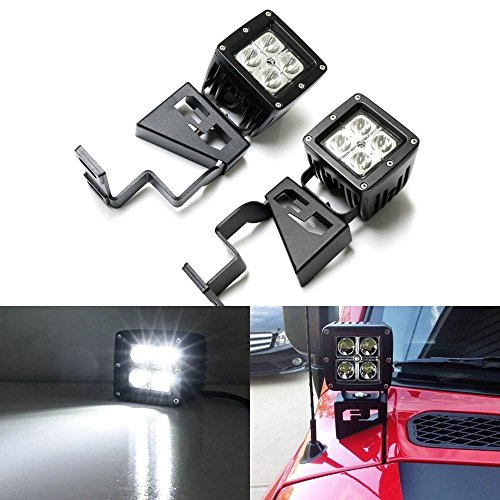 iJDMTOY Complete 40W High Power CREE LED Front Cowl Light Kit w/ Windshield A-Pillar Mounting Brackets For 2007-2014 Toyota FJ Cruiser