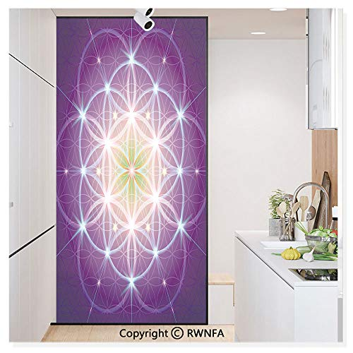 RWN Film Removable Static Decorative Privacy Window Films Interlace Circles Sign of Cosmos Harmony Folk Hidden Abstract Motif for Glass (17.7In. by 78.7In),Dark Purple Blue Yellow