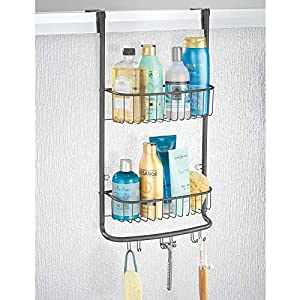 mDesign Modern Metal Bathroom Tub and Shower Caddy, Over Door Hanging Storage Organizer Center with 6 Built-in Hooks and 2 Baskets for Bathroom Shower Stalls, Bathtubs – Graphite Gray