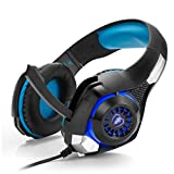 Basicest BAS3725 Black Blue LED Light Bass Over-Ear Gaming Headset 3.5mm USB Stereo Noise Reduction with Microphone and Sound Control for PC Laptop Smart Phone Mac with Monitor Hook