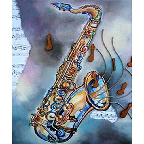 5D Diamond Painting Kit Diy Craft Set Full Drill Round - Music Saxophone?Artist, 11.8X15.7 Inch Drill Area, Canvas, Tweezers, Quality Fabric(Frameless) ()